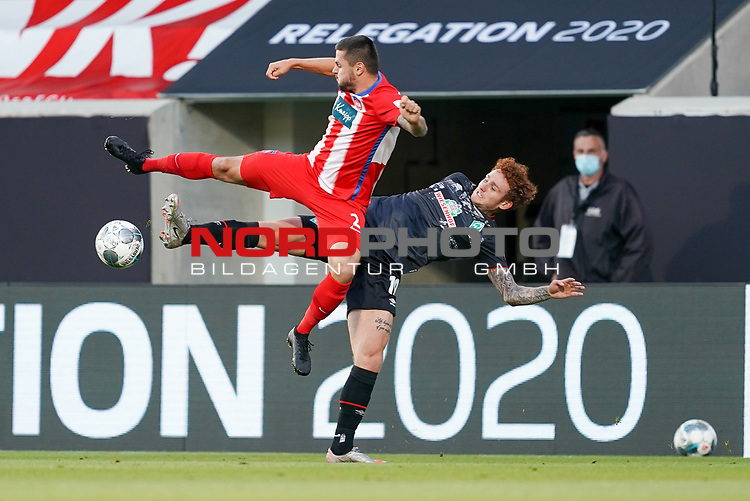 Marnon Busch (1. FC Heidenheim 1846 #02), Joshua Sargent (Werder Bremen #19)<br /> <br /> <br /> Sport: nphgm001: Fussball: 1. Bundesliga: Saison 19/20: Relegation 02; 1.FC Heidenheim vs SV Werder Bremen - 06.07.2020<br /> <br /> Foto: gumzmedia/nordphoto/POOL <br /> <br /> DFL regulations prohibit any use of photographs as image sequences and/or quasi-video.<br /> EDITORIAL USE ONLY<br /> National and international News-Agencies OUT.
