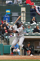 Frederick Keys infielder Aderlin Rodriguez (9) at bat during a game against the Myrtle Beach Pelicans at Ticketreturn.com Field at Pelicans Ballpark on April 10, 2016 in Myrtle Beach, South Carolina. Myrtle Beach defeated Frederick 7-5. (Robert Gurganus/Four Seam Images)
