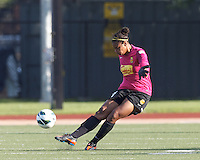 Western New York Flash goalkeeper Adrianna Franch (24). In a National Women's Soccer League (NWSL) match, Boston Breakers (blue) tied Western New York Flash (white), 2-2, at Dilboy Stadium on August 3, 2013.