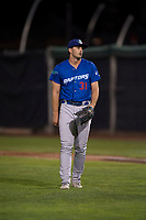 Ogden Raptors relief pitcher Evy Ruibal (31) during a Pioneer League game against the Orem Owlz at Home of the OWLZ on August 24, 2018 in Orem, Utah. The Ogden Raptors defeated the Orem Owlz by a score of 13-5. (Zachary Lucy/Four Seam Images)