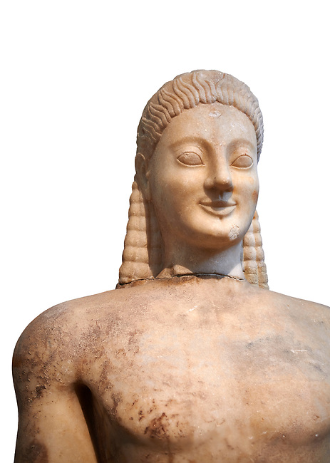 Parian marble Ancient Greek Archaic statue of a kouros, found in Volomandra, Attica. Circa 560-550 BC, Athens National Archaeological Museum. Cat no 1906. Against white.<br /> <br /> Probably from the grave of an athenian aristocrat