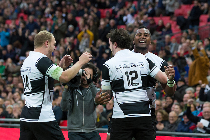 Taqele Naiyaravoro (right) of the Barbarians celebrates scoring his sides third try with team mates         Photographer Craig Mercer/CameraSport<br /> <br /> International Rugby Union Friendly - Barbarians v South Africa - Saturday 5th November 2016 - Wembley Stadium - London<br /> <br /> World Copyright &copy; 2016 CameraSport. All rights reserved. 43 Linden Ave. Countesthorpe. Leicester. England. LE8 5PG - Tel: +44 (0) 116 277 4147 - admin@camerasport.com - www.camerasport.com