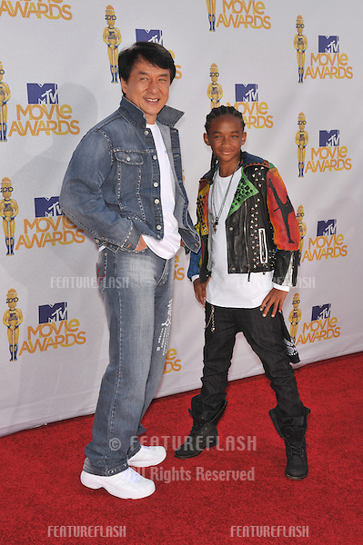 Jackie Chan & Jaden Smith at the 2010 MTV Movie Awards at the Gibson Amphitheatre, Universal Studios, Hollywood..June 6, 2010  Los Angeles, CA.Picture: Paul Smith / Featureflash