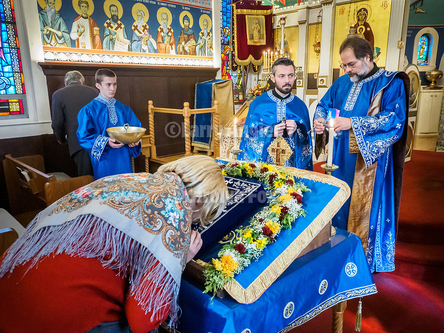 The miracle-giving, myrrh-streaming Iveron Icon of the Theotokos from Hawaii visits St. Sava Jackson, during divine liturgy at St. Sava Jackson.<br /> <br /> Serving liturgy included Fr. Marko Bojovic, St. Sava, Fr. Joseph Ramos, St. Sussana, Jamestown, Fr. Rares Onofrei, Holy Archangel Michael &amp; Gabriel Romanian Orthodox Church, Sacramento and joining the congregation,  Fr. John Longero, St. Andrews, Reno.<br /> <br /> Bringing the icon from Holy Theotokos of Iverson Russian Orthodox Church in Hawaii to Jackson were driver Mary and Ipodiakon Nectarios Yangson, the keeper and guardian of the icon.