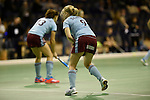 Berlin, Germany, January 31: Warm up before the 1. Bundesliga Damen Hallensaison 2014/15 semi-final hockey match between Uhlenhorster HC (light blue) and Duesseldorfer HC (dark blue) on January 31, 2015 at the Final Four tournament at Max-Schmeling-Halle in Berlin, Germany. (Photo by Dirk Markgraf / www.265-images.com) *** Local caption ***