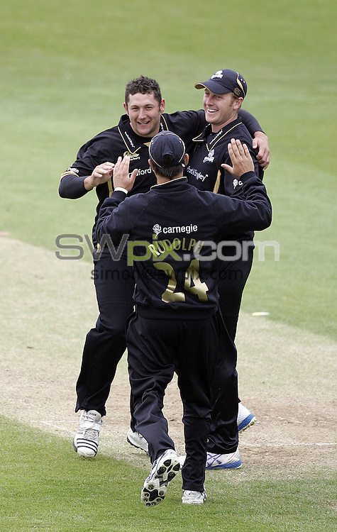 PICTURE BY VAUGHN RIDLEY/SWPIX.COM - Cricket - Friends Provident Trophy - Yorkshire v Sussex - Headingley, Leeds, England - 26/04/09...Copyright - Simon Wilkinson - 07811267706...Yorkshire's Tim Bresnan, Jacques Rudolph and Andrew Gale.