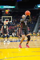 SAN FRANCISCO, CA - NOVEMBER 09: San Francisco, CA - November 9, 2019: Francesca Belibi at the Chase Center. The Stanford Cardinal defeated the USF Dons 97-71. during a game between University of San Francisco and Stanford Basketball W at Chase Center on November 09, 2019 in San Francisco, California.
