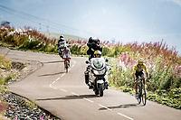 yellow jersey / GC leader Primoz Roglic (SVK/Jumbo-Visma) up the finish climb & the highest peak of the 2020 #TdF: the Col de la Loze (HC/2304m/21,5km @7,8%)<br /> <br /> Stage 17 from Grenoble to Méribel - Col de la Loze (170km)<br /> <br /> 107th Tour de France 2020 (2.UWT)<br /> (the 'postponed edition' held in september)<br /> <br /> ©kramon