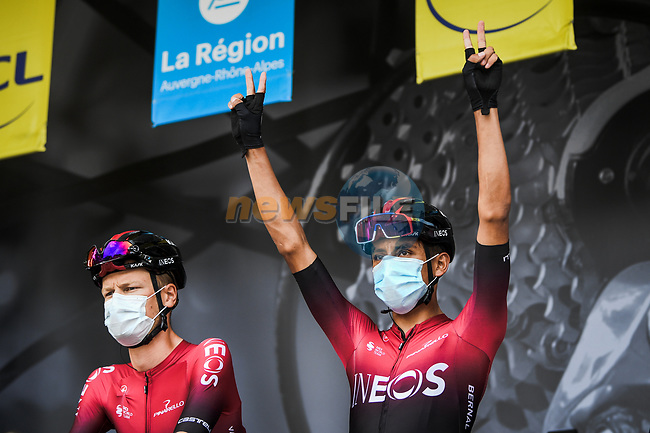 Egan Bernal (COL) Team Ineos at the Team Presentation before the start of Stage 1 of Criterium du Dauphine 2020, running 218.5km from Clermont-Ferrand to Saint-Christo-en-Jarez, France. 12th August 2020.<br /> Picture: ASO/Alex Broadway   Cyclefile<br /> All photos usage must carry mandatory copyright credit (© Cyclefile   ASO/Alex Broadway)