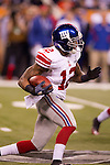 New York Giants wide receiver Jerrel Jernigan (12) returns a kick during the NFL Super Bowl XLVI football game against the New England Patriots on Sunday, Feb. 5, 2012, in Indianapolis. The Giants won 21-17 (AP Photo/David Stluka)...