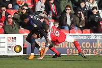 Fleetwood Town's Ched Evans battles with Luton Town's Pelly Ruddock <br /> <br /> Photographer Mick Walker/CameraSport<br /> <br /> The EFL Sky Bet League One - Fleetwood Town v Luton Town - Saturday 16th February 2019 - Highbury Stadium - Fleetwood<br /> <br /> World Copyright © 2019 CameraSport. All rights reserved. 43 Linden Ave. Countesthorpe. Leicester. England. LE8 5PG - Tel: +44 (0) 116 277 4147 - admin@camerasport.com - www.camerasport.com