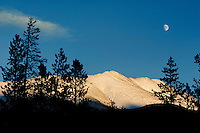 Winter moonrise over Hoosier Pass, Summit County, CO. Summit County, Colorado.