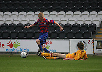Jack Smith beats David Ferguson in the St Mirren v Motherwell Clydesdale Bank Scottish Premier League U20 match played at St Mirren Park, Paisley on 10.9.12.