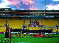 The Canada team lines up for the national anthems before the 2017 International Women's Rugby Series rugby match between the NZ Black Ferns and Canada at Westpac Stadium in Wellington, New Zealand on Friday, 9 June 2017. Photo: Dave Lintott / lintottphoto.co.nz