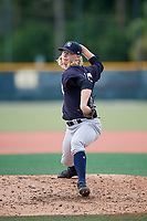 GCL Yankees East relief pitcher Tyler Johnson (46) delivers a pitch during the first game of a doubleheader against the GCL Pirates on July 31, 2018 at Pirate City Complex in Bradenton, Florida.  GCL Yankees East defeated GCL Pirates 2-0.  (Mike Janes/Four Seam Images)