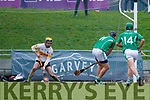 Aidan Boyle Ballyduff scores a goal against Martin Stackpoole Lixnaw in the Senior County Hurling Final in Austin Stack Park on Sunday