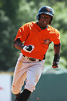 Xavier Avery #32 of the Frederick Keys running to 3rd base during a game against the Myrtle Beach Pelicans on May 2, 2010 in Myrtle Beach, SC.