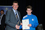 St Johnstone FC Youth Academy Presentation Night at Perth Concert Hall..21.04.14<br /> Manager Tommy Wright presents to Paul Simpson<br /> Picture by Graeme Hart.<br /> Copyright Perthshire Picture Agency<br /> Tel: 01738 623350  Mobile: 07990 594431