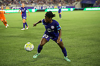 Orlando, Florida - Saturday, April 23, 2016: Orlando Pride forward Jasmyne Spencer (23) during an NWSL match between Orlando Pride and Houston Dash at the Orlando Citrus Bowl.