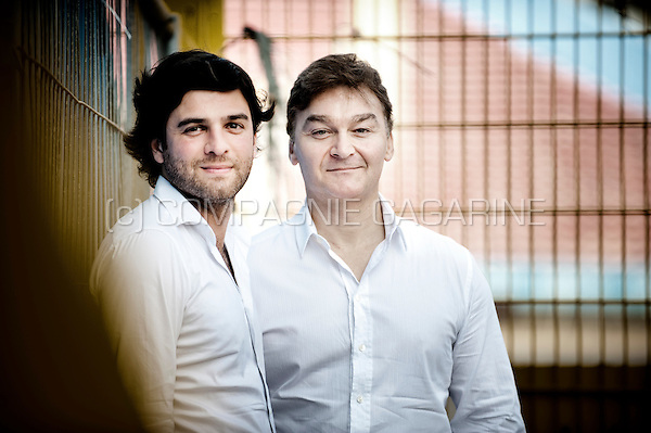 Mehdi Bayat and Fabien Debecq, CEO and chairman of the RCSC Royale Sporting du Pays de Charleroi football club (Belgium, 13/07/2013)