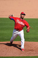 Philadelphia Phillies pitcher Nefi Ogando (65) during an exhibition game against the University of Tampa on March 1, 2015 at Bright House Field in Clearwater, Florida.  University of Tampa defeated Philadelphia 6-2.  (Mike Janes/Four Seam Images)
