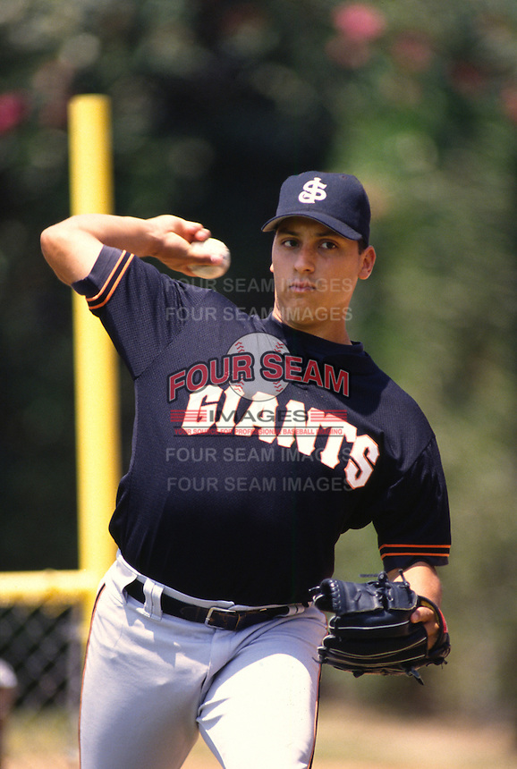 1996: Russ Ortiz of the San Jose Giants before game at Fiscalini Field in San Bernardino,CA.  Photo by Larry Goren/Four Seam Images