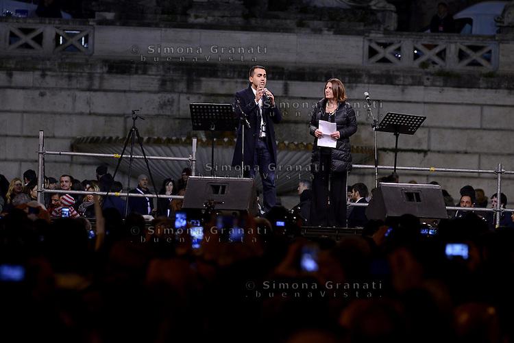 Roma, 24 Gennaio 2015<br /> Piazza del Popolo.<br /> La notte dell'onest&agrave;, manifestazione organizzata dal Movimento 5 stelle contro la curruzione e le mafie.<br /> Luigi Di Maio e Nunzia Catalfo