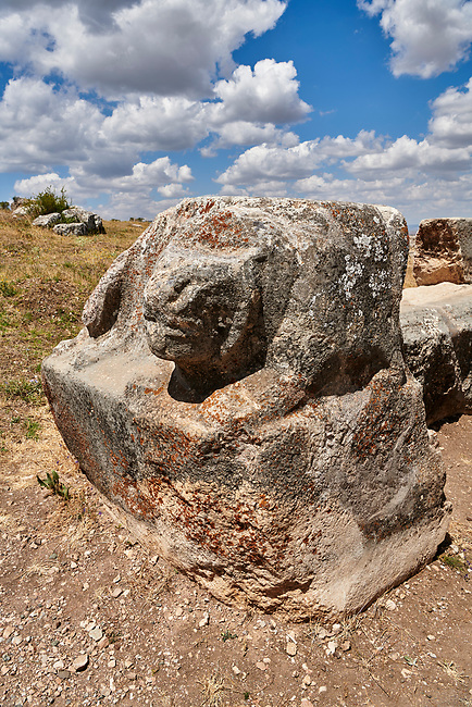 Hittite Lion sculptures of Temple I, Hattusa (also Ḫattuša or Hattusas) late Anatolian Bronze Age capital of the Hittite Empire. Hittite archaeological site and ruins, Boğazkale, Turkey.