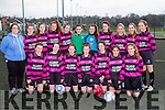 The Killarney Celtic team that played Carrick in the FAI cup in Killarney on Sunday front row l-r: Kate Stack, Ciara Horgan, Lucy O'Donnell, Aoife Cronin, Lauren Burke, Natalia San Miguel, Gillian Courtney. Back row: Caroline Kissane coach, Alannah O'Sullivan, Hannah O'Donoghue, Shauna O'Donoghue, Anna Clifford, Edel Harnett, Elizabeth Moloney, Maud Kelly, Kate Murphy Ciara Randles, Clodagh Boughan