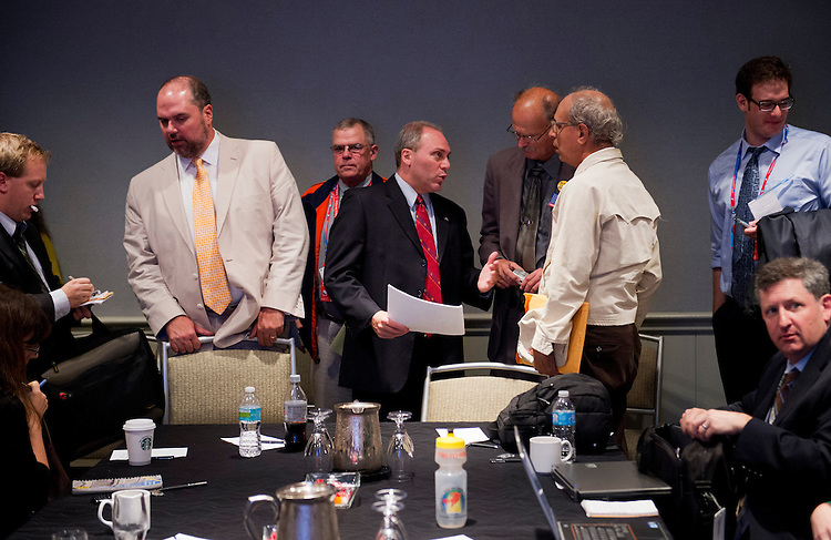 UNITED STATES - AUGUST 27:  Rep. Steve Scalise, R-La., center, vice-chair of the NRCC, talks with reporters in the Westin Tampa Harbour Island, in Tampa, after a briefing with reporters on the impact of the Romey-Ryan ticket on House races.  The start of the Republican National Convention was delayed one day because of bad weather.  (Photo By Tom Williams/CQ Roll Call)
