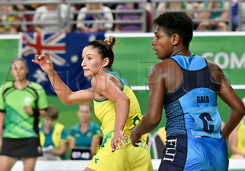 9th April 2018, Gold Coast Convention and Exhibition Centre, Gold Coast, Australia; Commonwealth Games day 5; Netball, Australia versus Fiji; Kimberley Ravaillion of Australia makes a run into space followed by Aliso Galo of Fiji