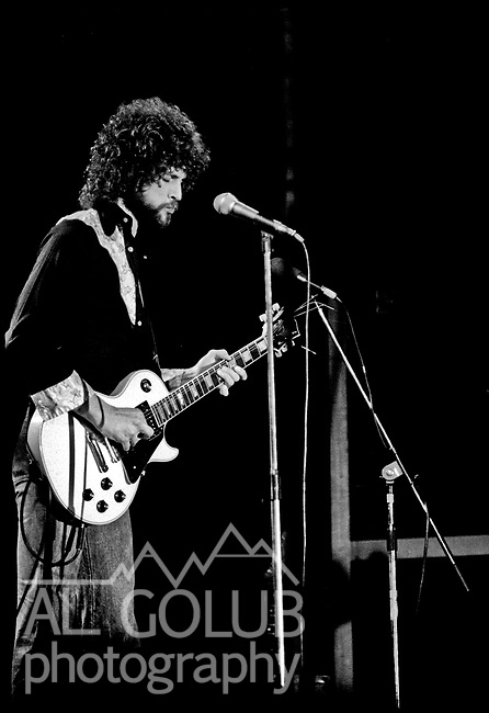 Lindsey Buckingham<br /> Modesto, California—Some time in early 1976, Fleetwood Mac Kingfish and an unknown at this time other groups played For Jerry Schweitzer at the Olympic Gold Ice Arena. Fleetwood Mac performers were Mick Fleetwood (drums) Stevie Nicks (vocals), John McVie (bass)  Christine McVie (keyboard) and Lindsey Buckingham (lead Guitar)Photo by Al Golub/Golub Photography