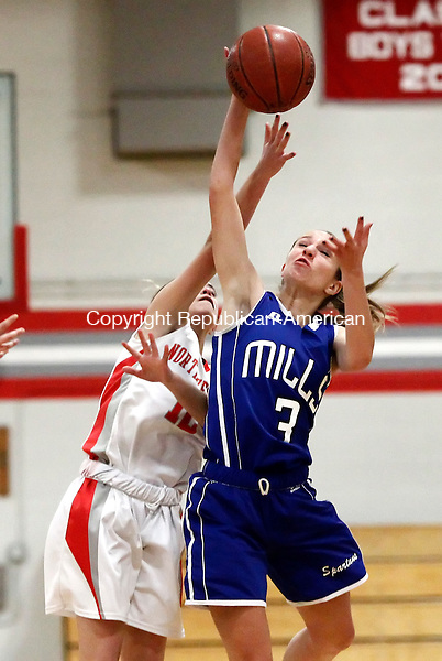 Winsted, CT- 05 January 2015-010515CM08 Lewis Mills' Ailene Berry (3) picks off a pass intended for Northwestern's Sydney Shaffer during their Berkshire League matchup in Winsted on Monday.   Christopher Massa Republican-American