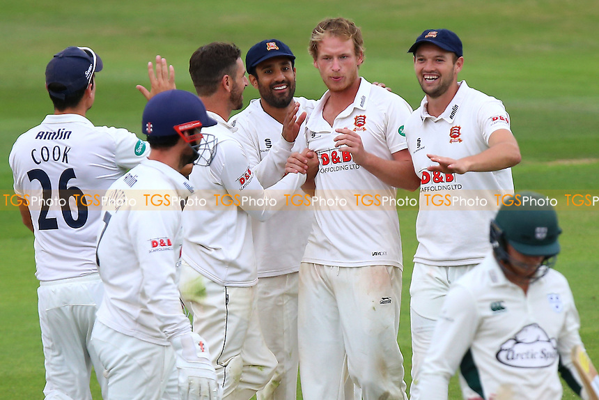 Tom Westley (2nd R) of Essex is congratulated by his team mates after taking the wicket of George Rhodes during Essex CCC vs Worcestershire CCC, Specsavers County Championship Division 2 Cricket at the Essex County Ground on 2nd September 2016