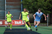 Seattle, WA - Sunday, May 22, 2016: Chicago Red Stars defender Arin Gilliland (3) passes the ball during a regular season National Women's Soccer League (NWSL) match at Memorial Stadium. Chicago Red Stars won 2-1.
