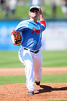 Pawtucket Red Sox pitcher Robby Scott (22) during a game versus the Durham Bulls at McCoy Stadium in Pawtucket, Rhode Island on May 3, 2015.  (Ken Babbitt/Four Seam Images)