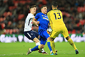 7th January 2018, Wembley Stadium, London, England;  FA Cup football, 3rd round, Tottenham Hotspur versus AFC Wimbledon; Michel Vorm of Tottenham Hotspur closes out the attempt from Cody McDonald of AFC Wimbledon