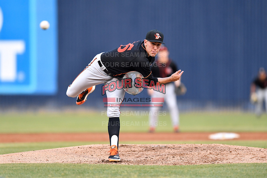 Delmarva Shorebirds starting pitcher Grayson Rodriguez (36) delivers a pitch during a game against the Asheville Tourists at McCormick Field on May 3, 2019 in Asheville, North Carolina. The Shorebirds defeated the Tourists 6-5. (Tony Farlow/Four Seam Images)