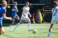 Seattle, WA - Sunday, May 1, 2016: FC Kansas City forward Erika Tymrak (15) looks to pass during a National Women's Soccer League (NWSL) match at Memorial Stadium. Seattle won 1-0.