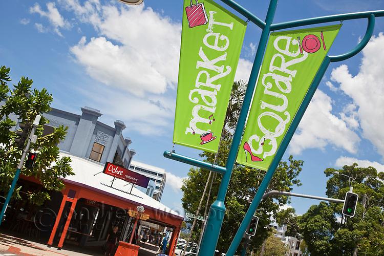 Market Square dining precinct on Shields Street with Ochre Restaurant in background.  Cairns, Queensland, Australia