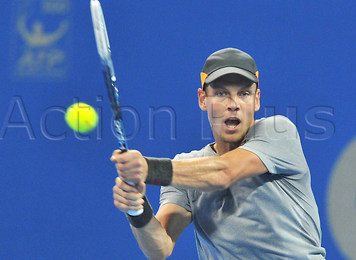 04.10.2014.Beijing, China.  Tomas Berdych of Czech Republic returns during the mens singles semifinal match against Martin Klizan of Slovakia at the China Open tennis tournament in Beijing, China, Oct. 4, 2014. Tomas Berdych won 2-0.