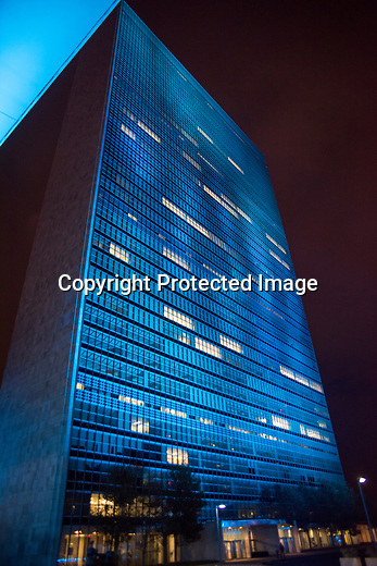 View of United Nations Building in Blue