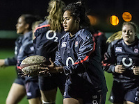 Lagilagi Tuima during warm up, Army Women v U20 England Women at the Army Rugby Stadium, Aldershot, England, on 16th February 2017. Final score 15-38.