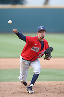Robby Medel (34) of the Arizona Wildcats pitches during a game against the UCLA Bruins at Jackie Robinson Stadium on May 16, 2015 in Los Angeles, California. UCLA defeated Arizona, 6-0. (Larry Goren/Four Seam Images)