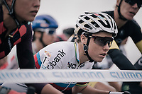 World Champion Sanne Cant (BEL/Iko-Beobank) at the start line<br /> <br /> Women's Elite race<br /> <br /> UCI cyclocross World Cup Koksijde / Belgium 2017