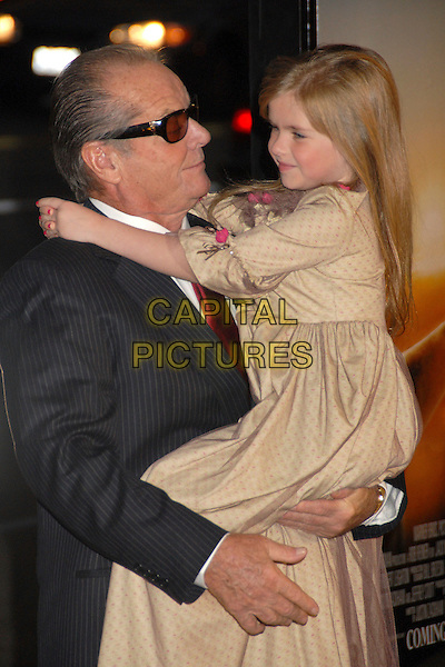 "JACK NICHOLSON & TAYLOR ANN THOMPSON.""The Bucket List"" Los Angeles Premiere at the Cinerama Dome, Hollywood, California, USA..December 16th, 2007.half length brown beige sheer dress carrying lifting sunglasses shades tinted glasses profile .CAP/ADM/BP.©Byron Purvis/AdMedia/Capital Pictures."