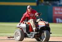 Head Groundskeeper/Field Superintendent Matt McKinnon for the Pawtucket Red Sox at McCoy Stadium in Pawtucket, RI on April 30, 2010 (Photo by Ken Babbitt/Four Seam Images)