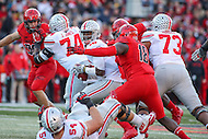 College Park, MD - November 12, 2016: Maryland Terrapins defensive lineman Cavon Walker (18) sacks Ohio State Buckeyes quarterback J.T. Barrett (16) during game between Ohio St. and Maryland at  Capital One Field at Maryland Stadium in College Park, MD.  (Photo by Elliott Brown/Media Images International)