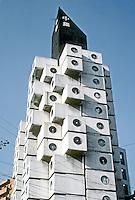 Tokyo: Nakagin Tower--upper capsules. Kisho Kurokowa, architect. Photo '81.