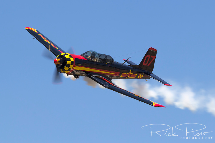 Chinese built Nanchang YAK-18A in flight during the 2017 Nevada County Airfest